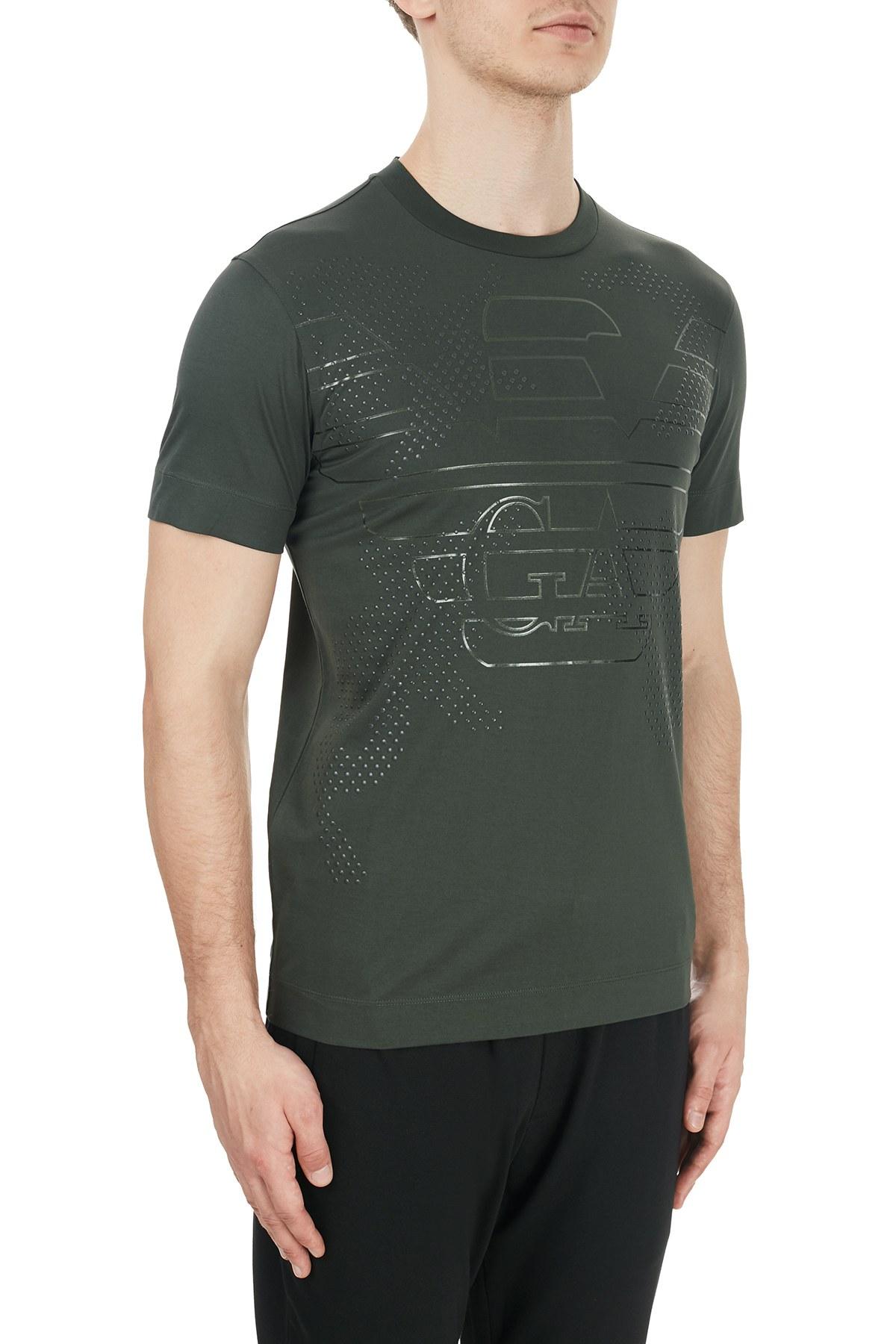 Emporio Armani Baskılı Bisiklet Yaka % 100 Pamuk Erkek T Shirt 6H1TG2 1JTUZ 0564 HAKİ