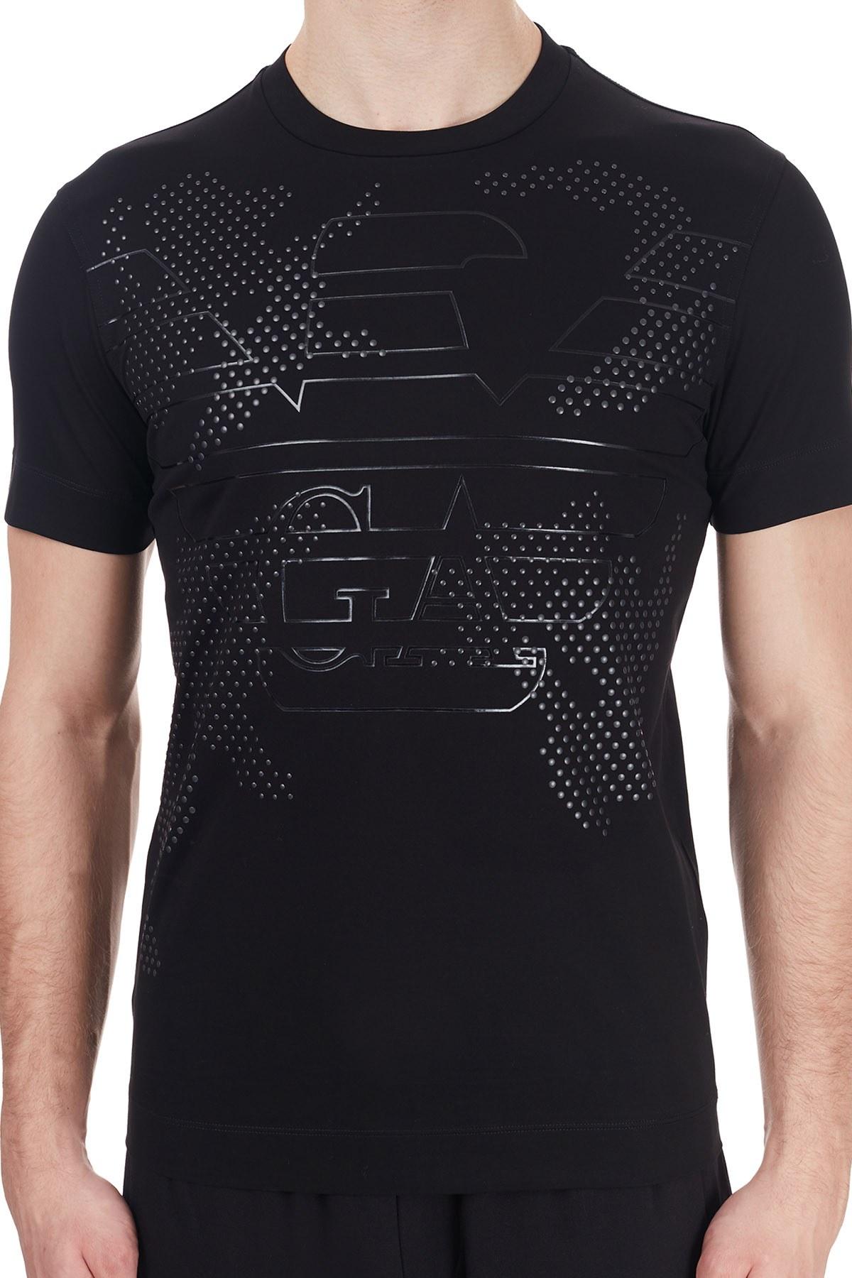 Emporio Armani Baskılı Bisiklet Yaka % 100 Pamuk Erkek T Shirt 6H1TG2 1JTUZ 0999 SİYAH