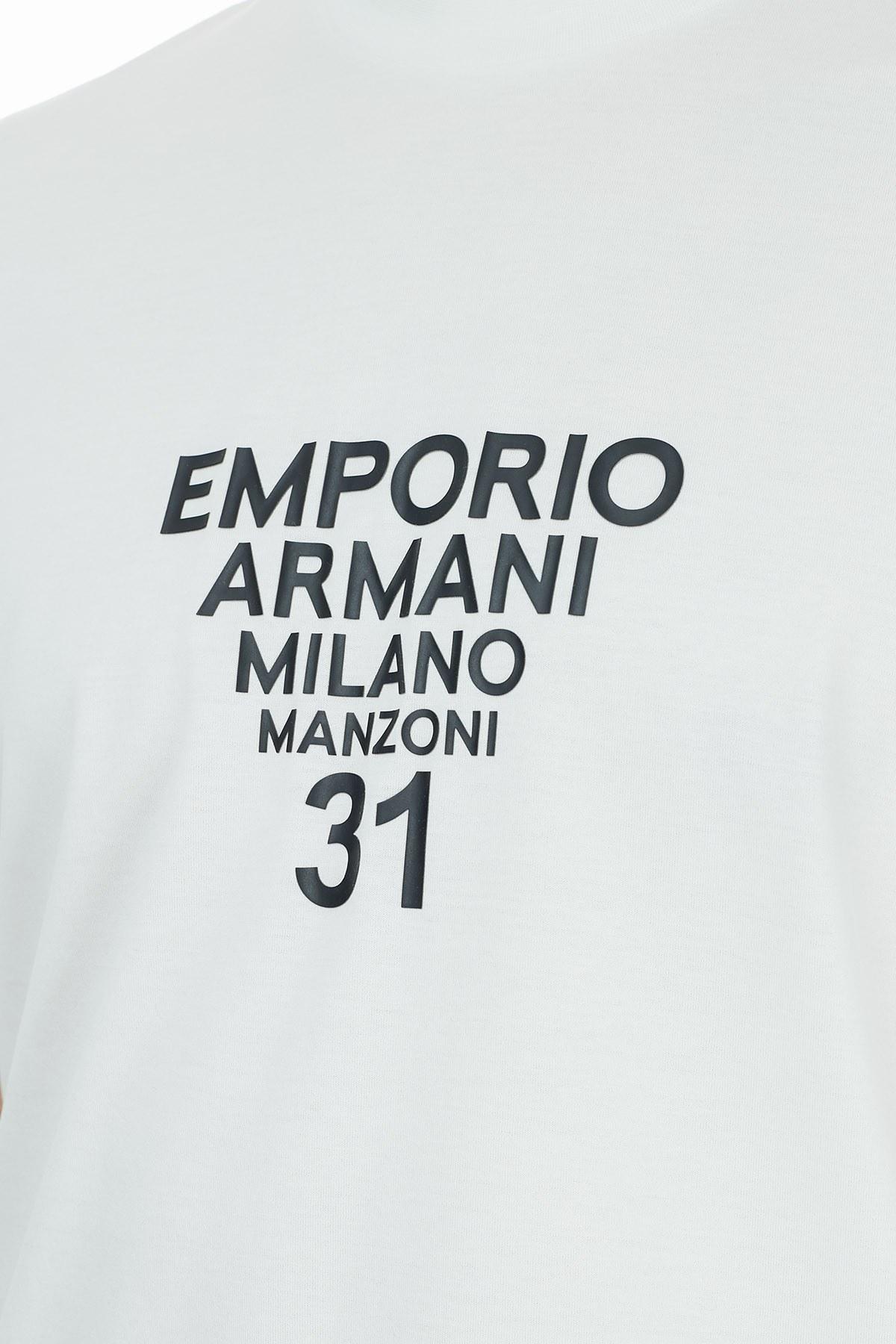 Emporio Armani Baskılı Bisiklet Yaka % 100 Pamuk Erkek T Shirt 6H1TG5 1JTUZ 0151 BEYAZ