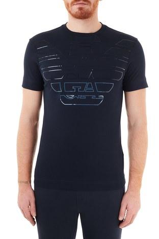 Emporio Armani - Emporio Armani Baskılı Bisiklet Yaka % 100 Pamuk Erkek T Shirt 6H1TQ7 1J30Z 0920 LACİVERT