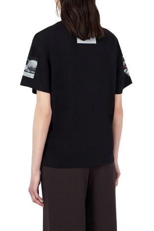 Emporio Armani - Emporio Armani Baskılı Bisiklet Yaka % 100 Pamuk Bayan T Shirt 8N2T9G 2J53Z 0999 SİYAH (1)