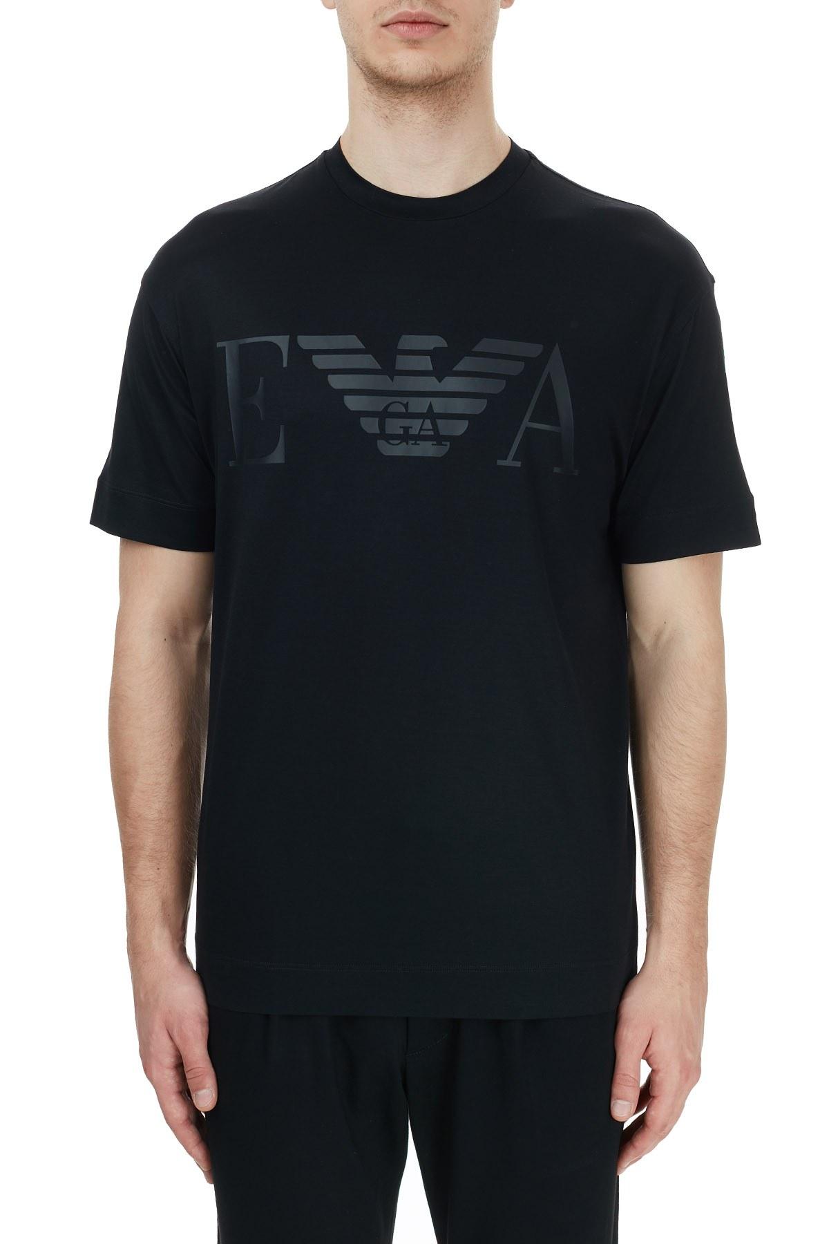 Emporio Armani Baskılı Bisiklet Yaka Erkek T Shirt 6H1TH0 1JBVZ 0999 SİYAH