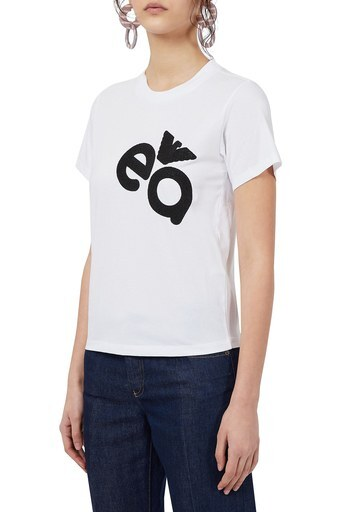 Emporio Armani Baskılı Bisiklet Yaka Pamuklu Kadın T Shirt 3K2T7M 2J07Z 0100 BEYAZ
