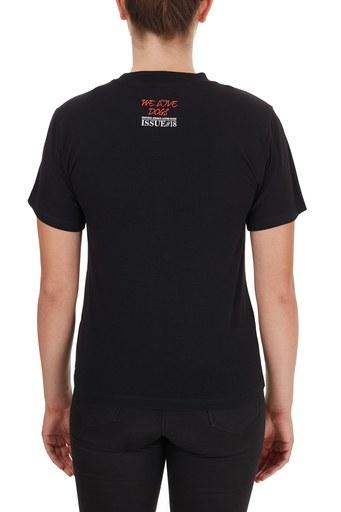Emporio Armani Baskılı Bisiklet Yaka Pamuklu Bayan T Shirt 6H2T7K 2J07Z 0999 SİYAH