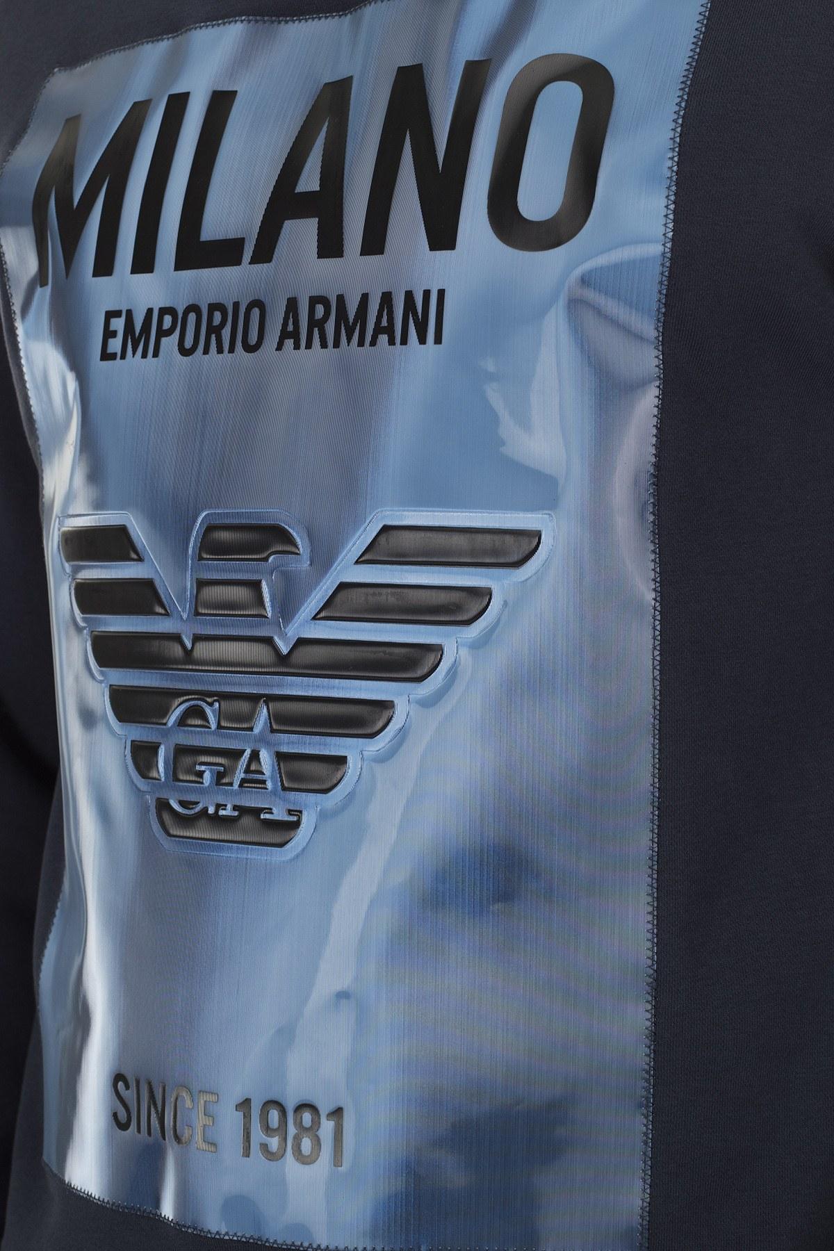 Emporio Armani Baskılı Kapüşonlu Erkek Sweat 3H1M90 1J36Z 0922 LACİVERT