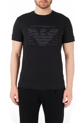 Emporio Armani Bisiklet Yaka % 100 Pamuk Erkek T Shirt 3K1TE1 1JULZ 0999 SİYAH