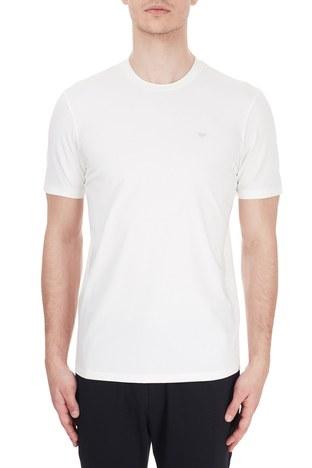 Emporio Armani - Emporio Armani Bisiklet Yaka Pamuklu Erkek T Shirt 6H1TS2 1JJRZ 0101 BEYAZ