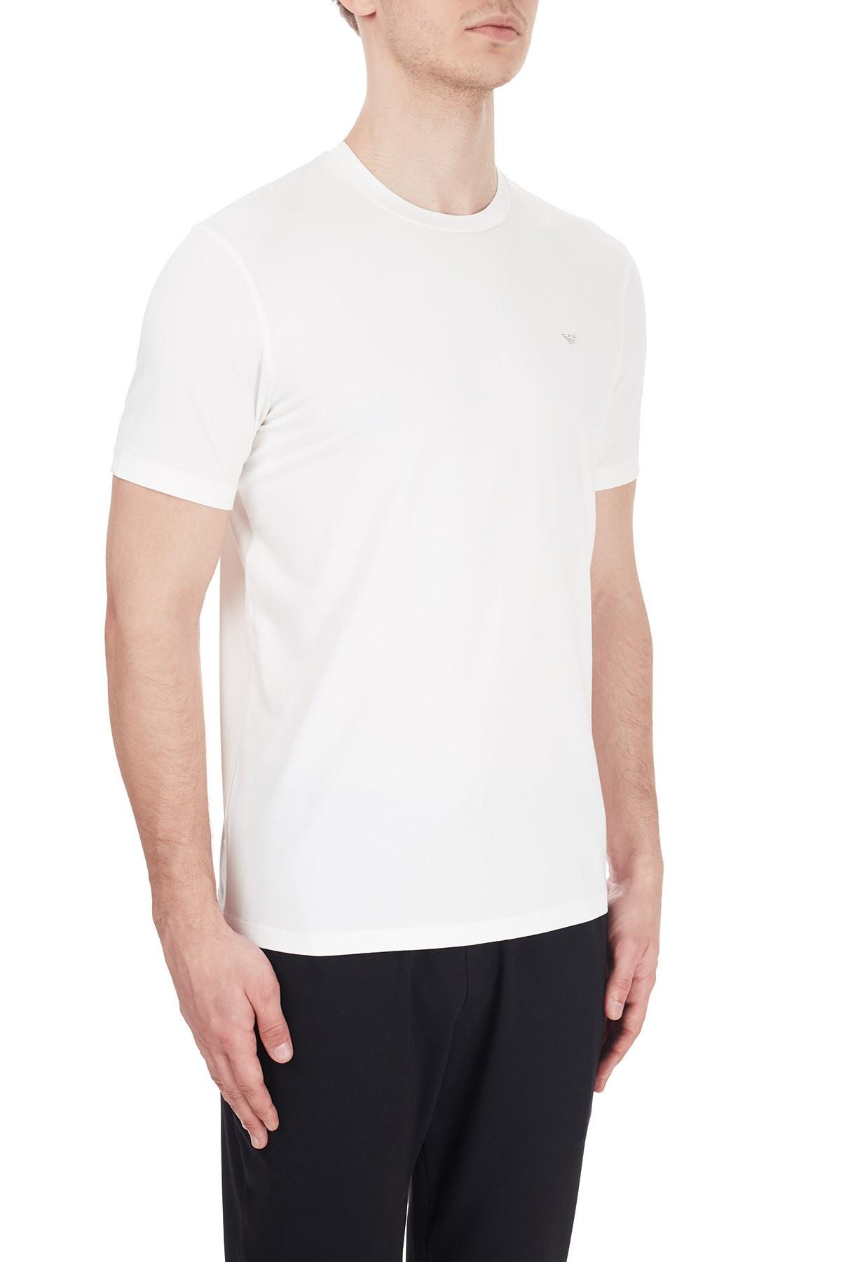 Emporio Armani Bisiklet Yaka Pamuklu Erkek T Shirt 6H1TS2 1JJRZ 0101 BEYAZ