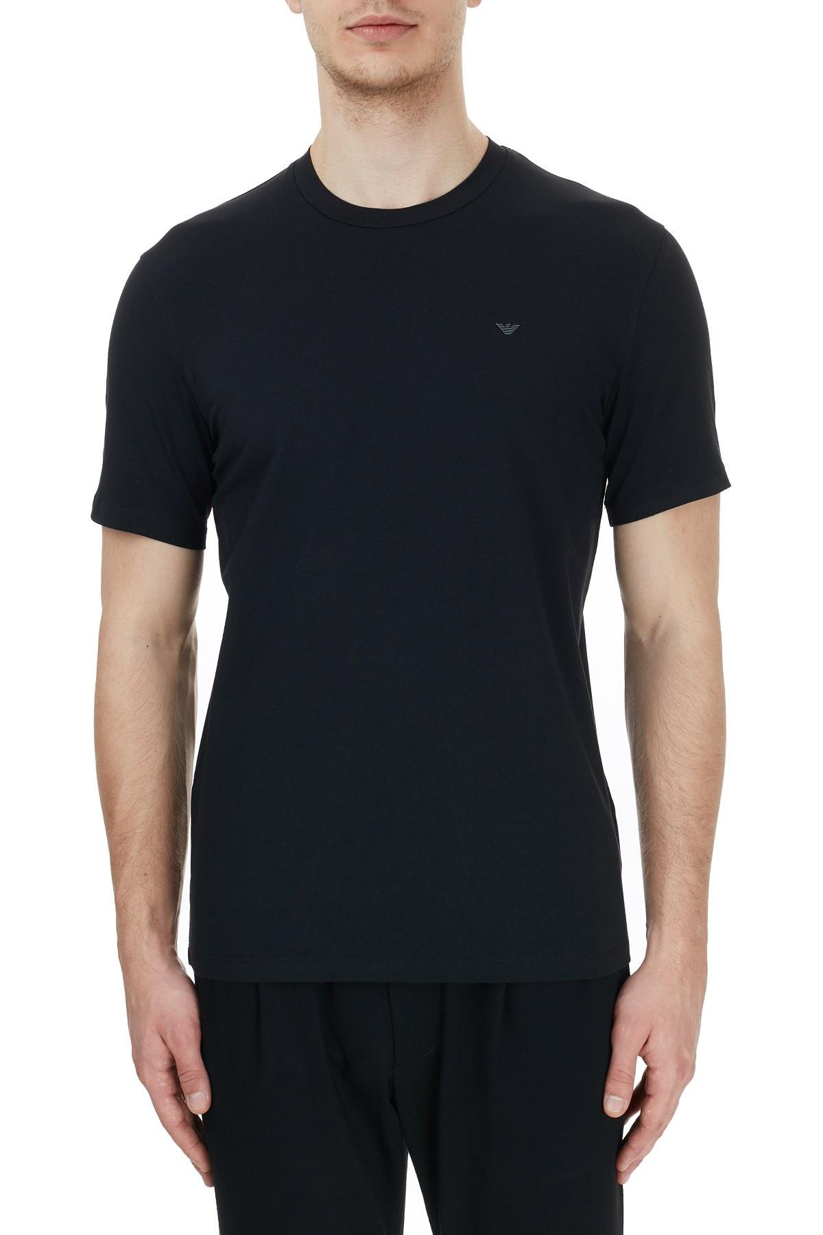 Emporio Armani Bisiklet Yaka Pamuklu Erkek T Shirt 6H1TS2 1JJRZ 0999 SİYAH