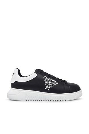 Emporio Armani - Emporio Armani Deri Erkek Ayakkabı X4X264 XM552 N300 SİYAH-BEYAZ