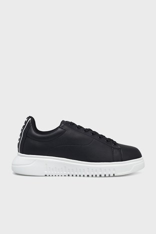 Emporio Armani - Emporio Armani Deri Sneaker Erkek Ayakkabı S X4X312 XM490 K001 SİYAH