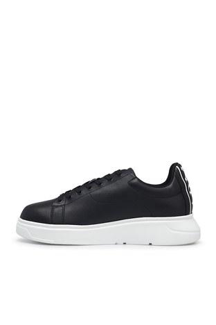 Emporio Armani - Emporio Armani Deri Sneaker Erkek Ayakkabı S X4X312 XM490 K001 SİYAH (1)