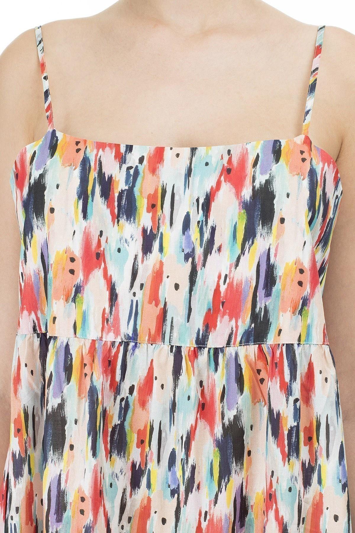 Emporio Armani Desenli Askılı Maxi Bayan Elbise 262664 0P320 14299 LACİVERT