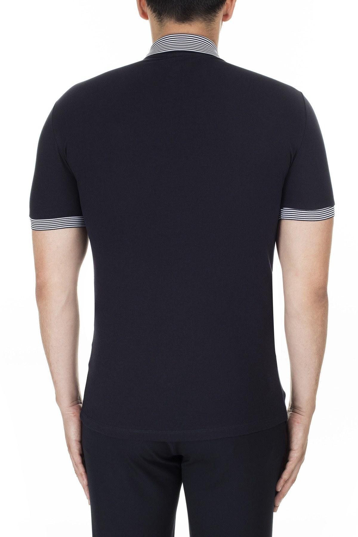 Emporio Armani Düğmeli T Shirt Erkek Polo 3H1F84 1J46Z 0930 LACİVERT