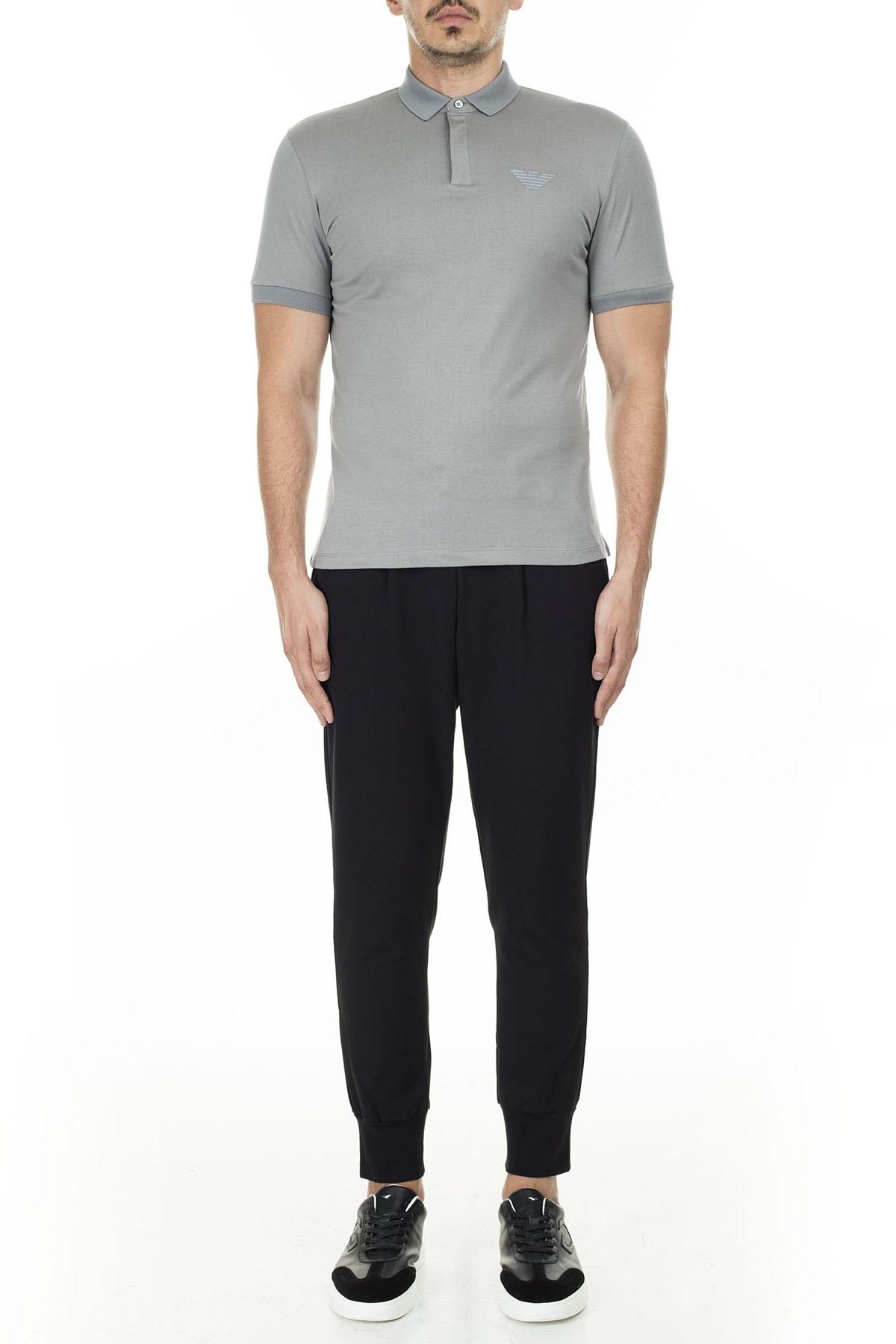 Emporio Armani Düğmeli T Shirt Erkek Polo 3H1F89 1J30Z 0653 GRİ