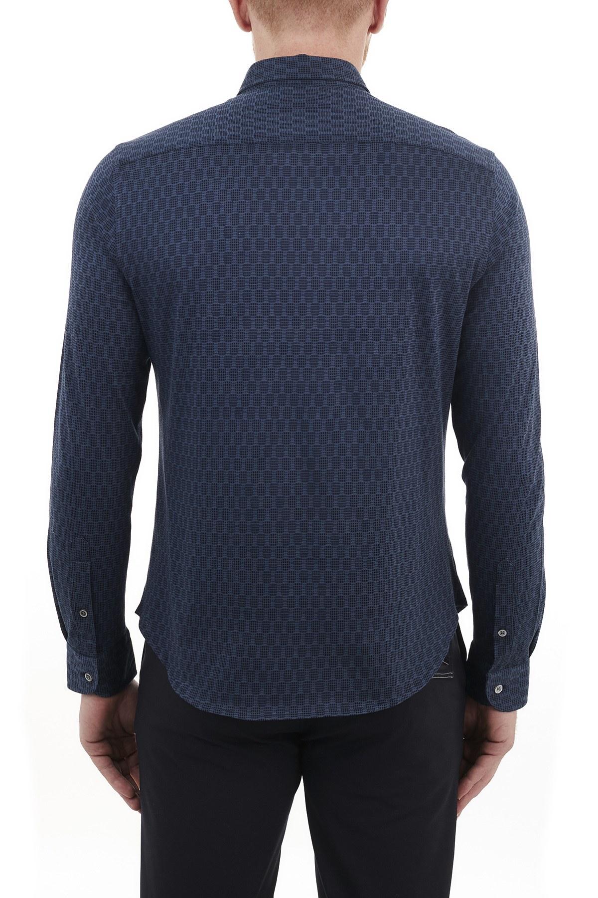 Emporio Armani Düz Yaka % 100 Pamuk Erkek Gömlek 91SM0L 915F1 041 LACİVERT
