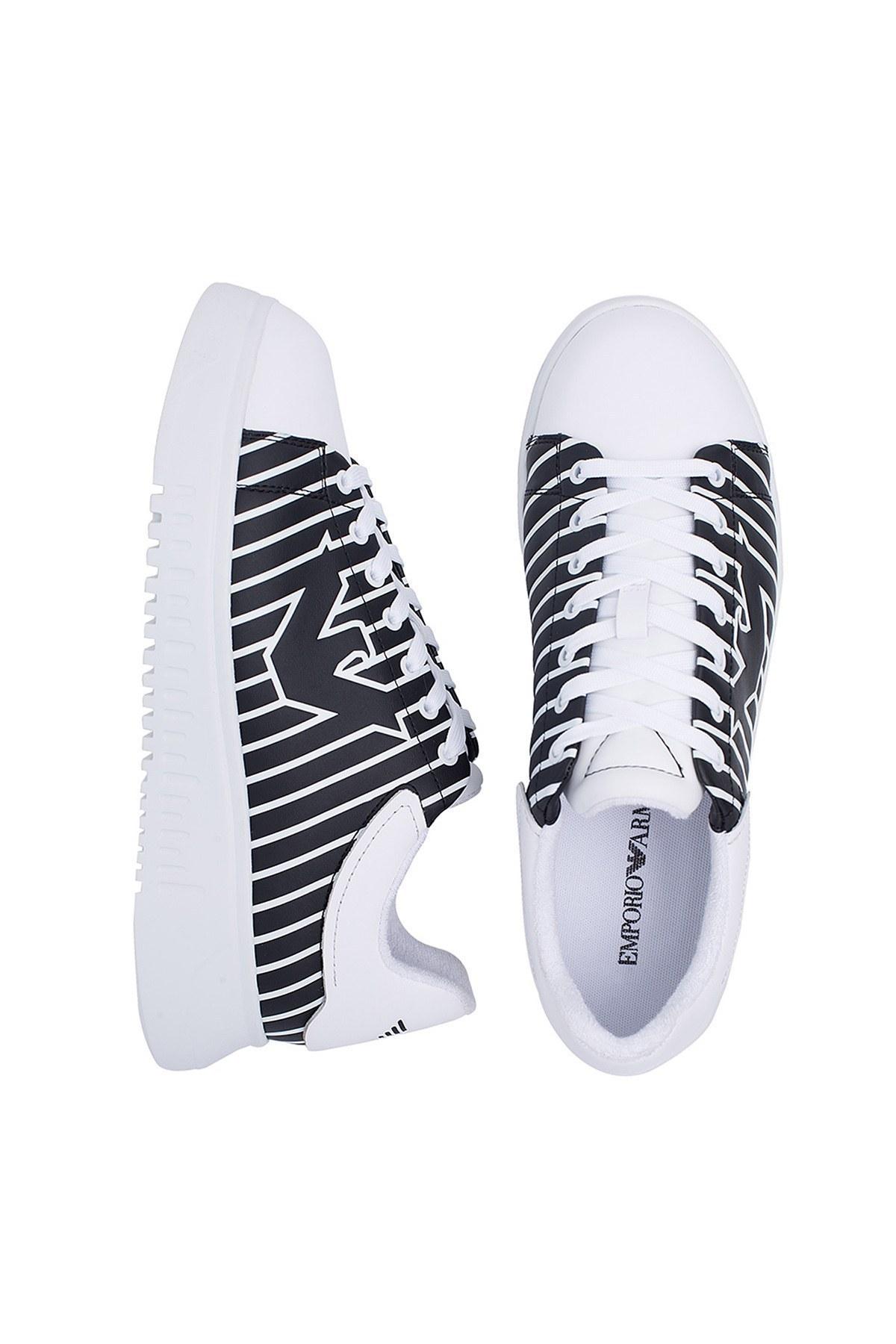 Emporio Armani Erkek Ayakkabı X4X264 XM227 C917 SİYAH-BEYAZ