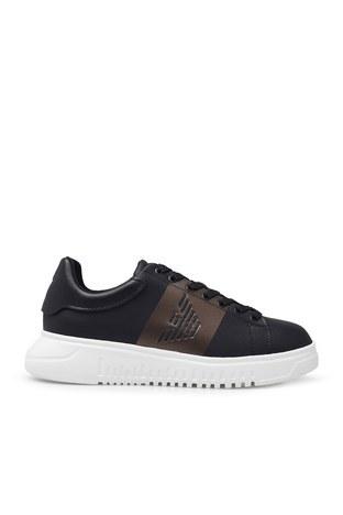 Emporio Armani - Emporio Armani Erkek Ayakkabı X4X264 XM491 M990 SİYAH-BEYAZ