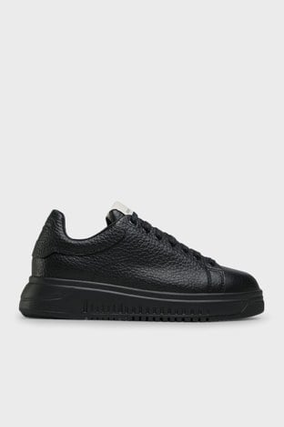 Emporio Armani - Emporio Armani Hakiki Deri Erkek Ayakkabı X4X264 XM783 K001 SİYAH
