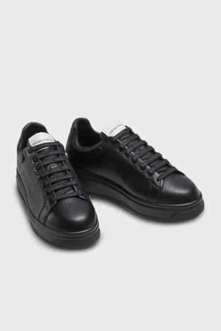 Emporio Armani - Emporio Armani Hakiki Deri Erkek Ayakkabı X4X264 XM783 K001 SİYAH (1)