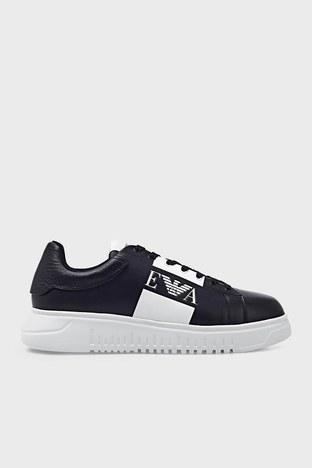 Emporio Armani - Emporio Armani Hakiki Deri Spor Erkek Ayakkabı X4X264 XM712 K001 SİYAH