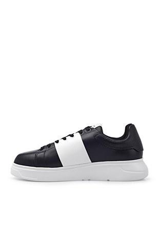 Emporio Armani - Emporio Armani Hakiki Deri Spor Erkek Ayakkabı X4X264 XM712 K001 SİYAH (1)