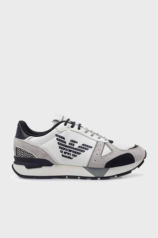 Emporio Armani - Emporio Armani Hakiki Deri Spor Erkek Ayakkabı X4X289 XM499 Q097 BEYAZ-GRİ