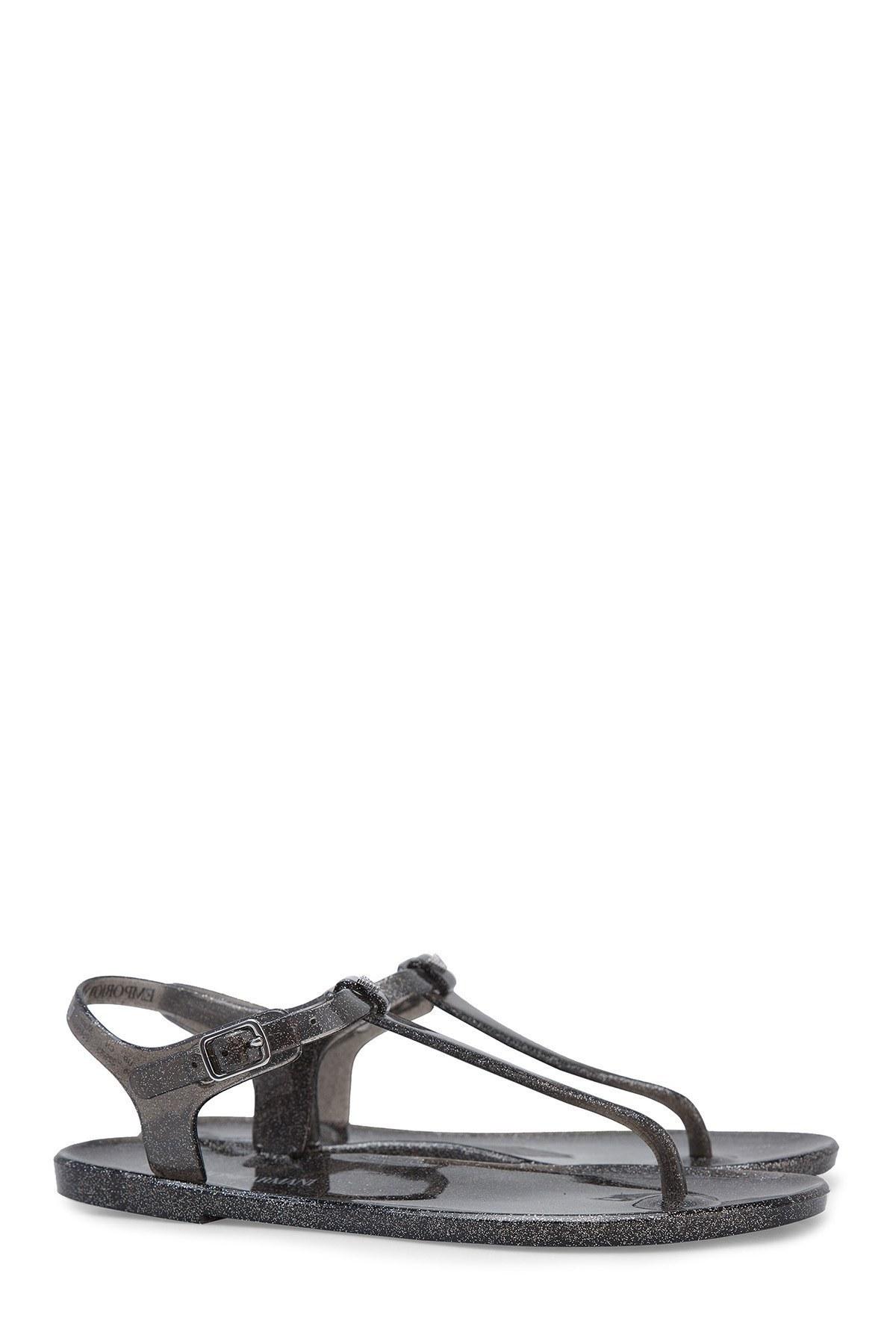 Emporio Armani Kadın Sandalet X3QS06 XL816 M603 SİYAH-GÜMÜŞ