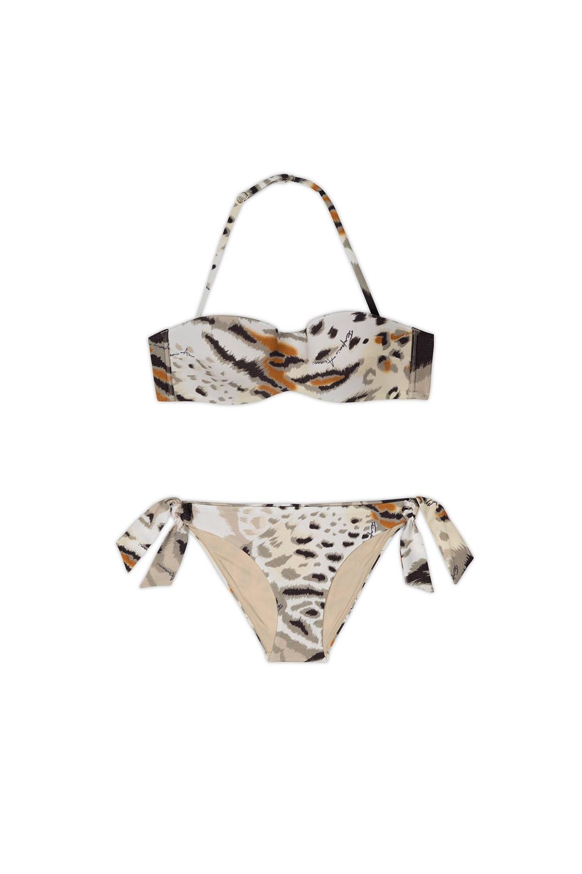 Emporio Armani Leopar Desenli Bağlama Detaylı Kadın Bikini 262454 0P300 62520 BEJ