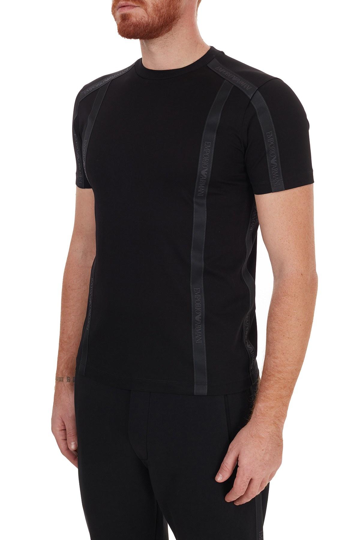 Emporio Armani Logo Bantlı Bisiklet Yaka % 100 Pamuk Erkek T Shirt 6H1TG4 1JTUZ 0999 SİYAH