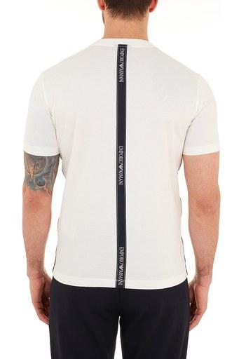 Emporio Armani Logo Bantlı Bisiklet Yaka % 100 Pamuk Erkek T Shirt S 6H1TG4 1JTUZ 0101 BEYAZ