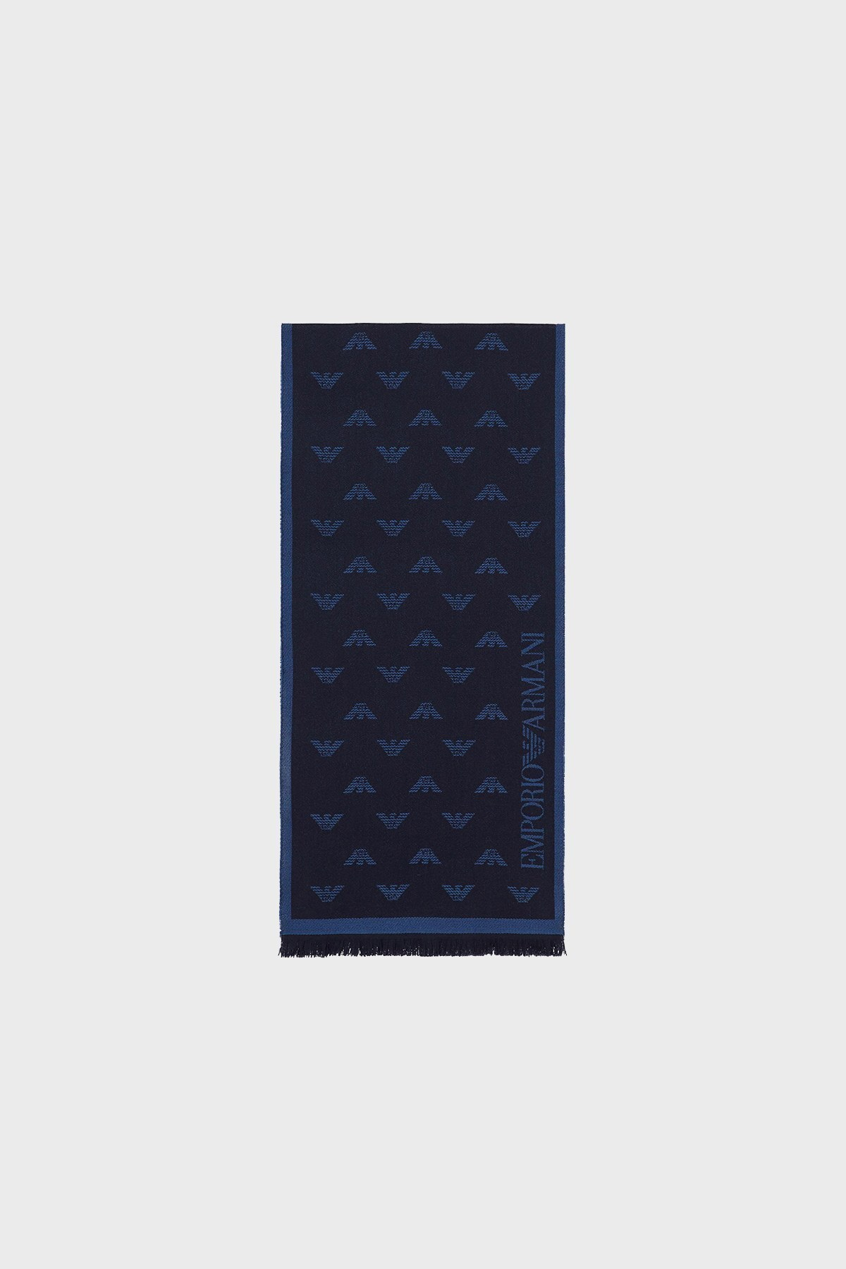 Emporio Armani Logo Baskılı % 100 Yün Erkek Şal 625009 0P306 00034 LACİVERT