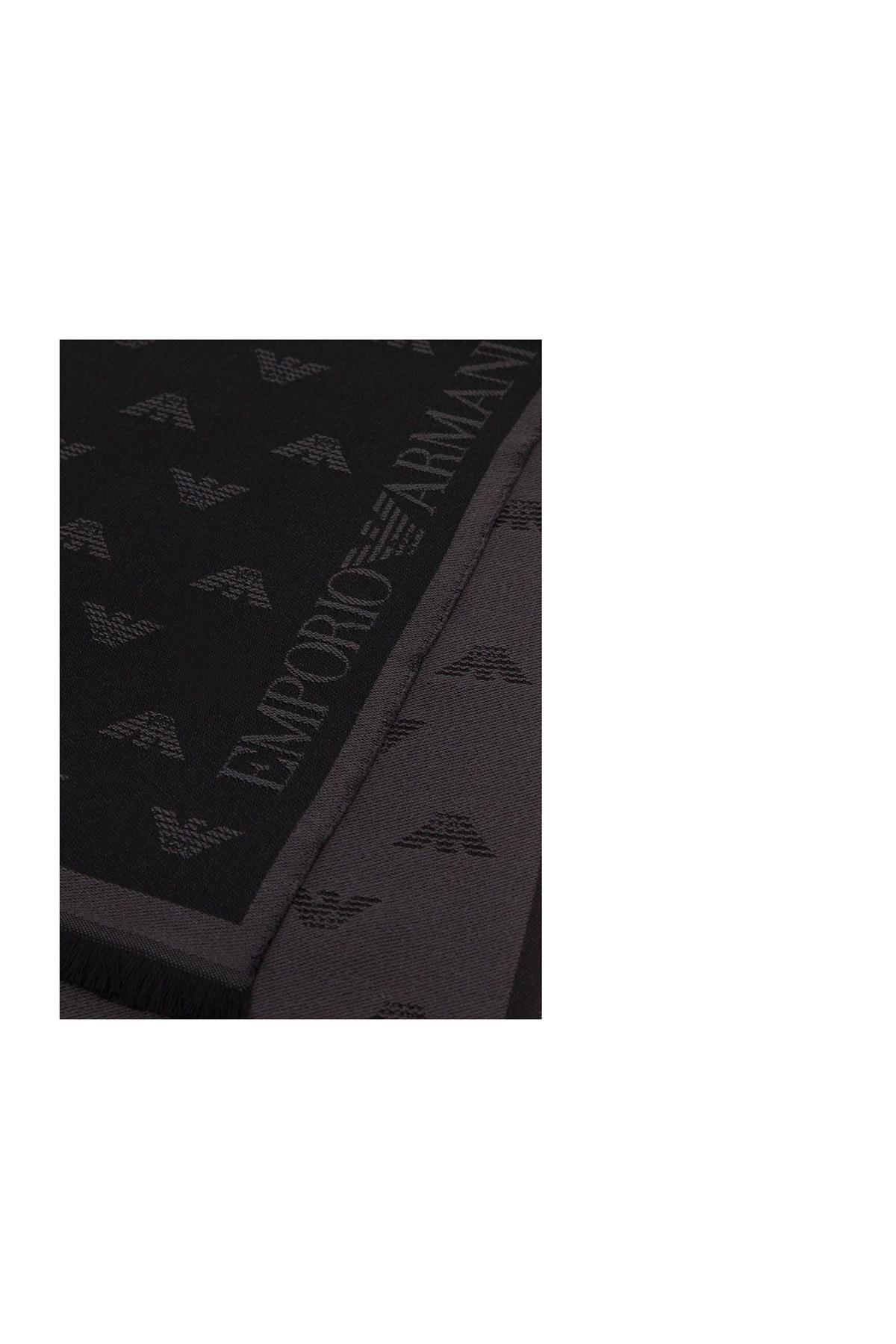 Emporio Armani Logo Baskılı % 100 Yün Erkek Şal 625009 0P306 00044 ANTRASİT