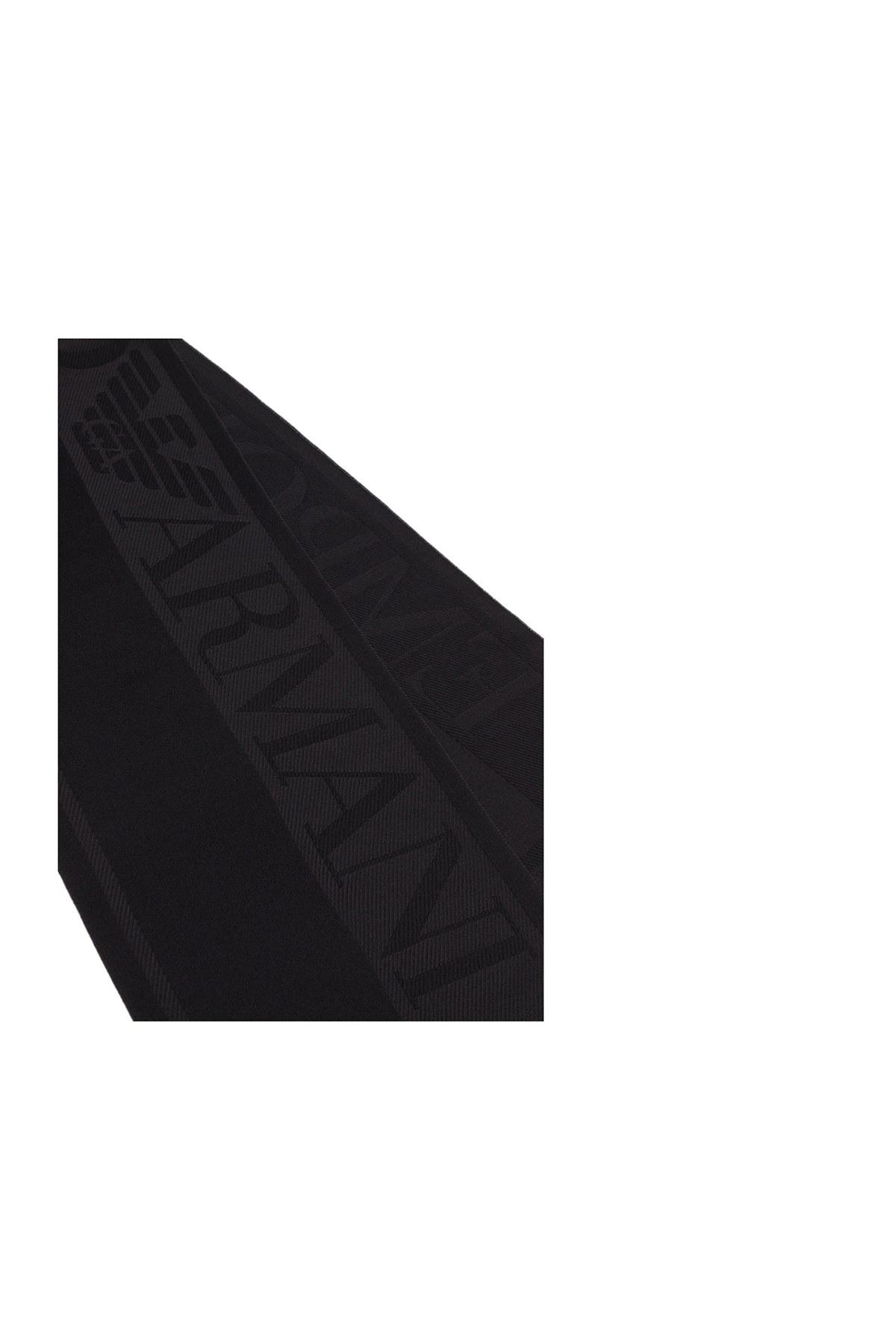 Emporio Armani Logo Baskılı % 100 Yün Erkek Şal 625034 0A334 00020 SİYAH