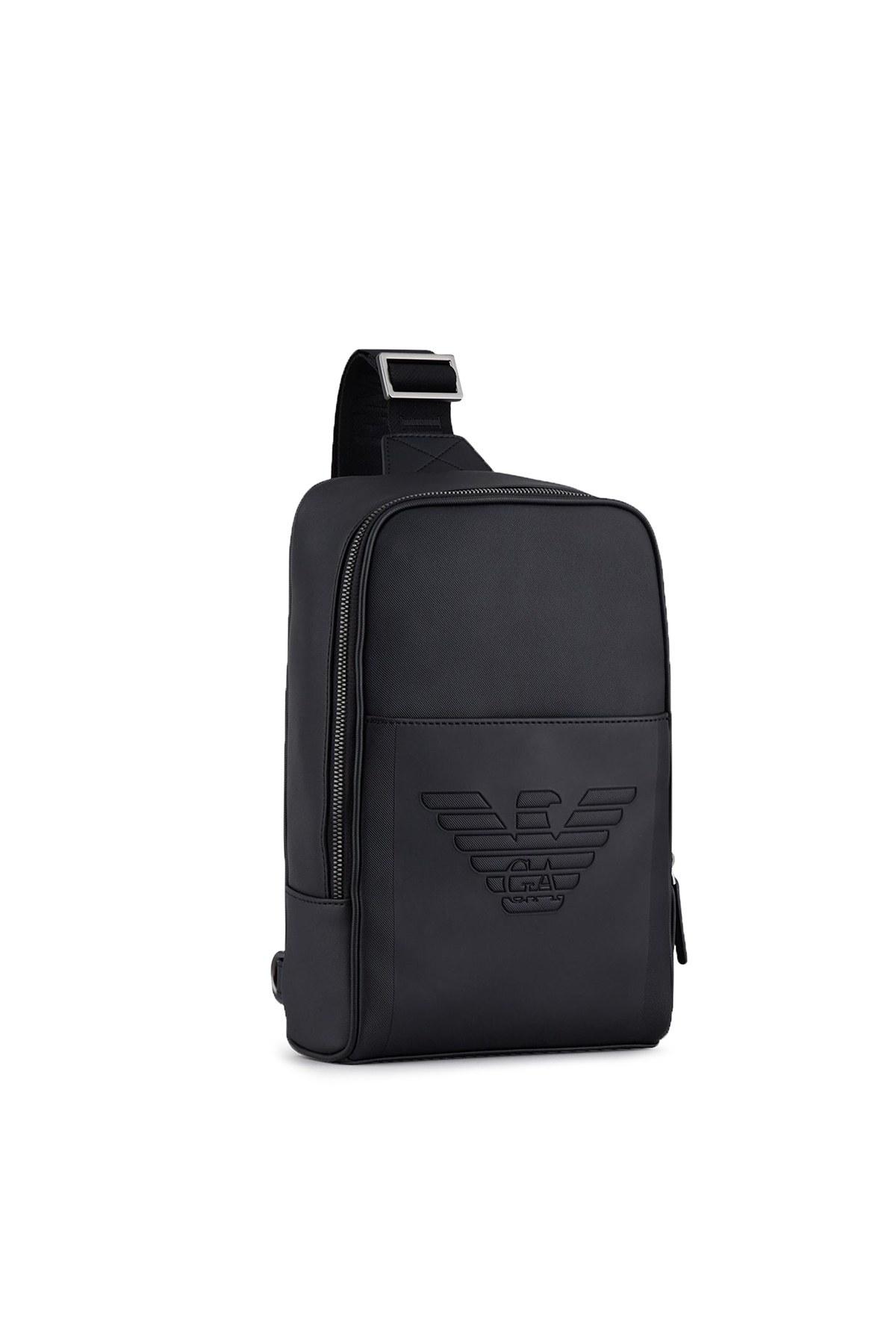Emporio Armani Logo Baskılı Ayarlabilir Askılı Erkek Çanta Y4O218 YFE6J 81072 SİYAH