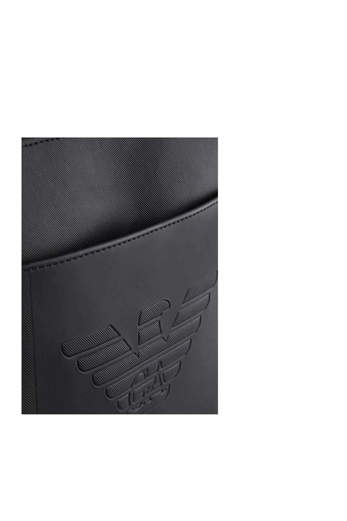 Emporio Armani Logo Baskılı Ayarlanabilir Askılı Erkek Çanta Y4M177 YFE6J 81072 SİYAH