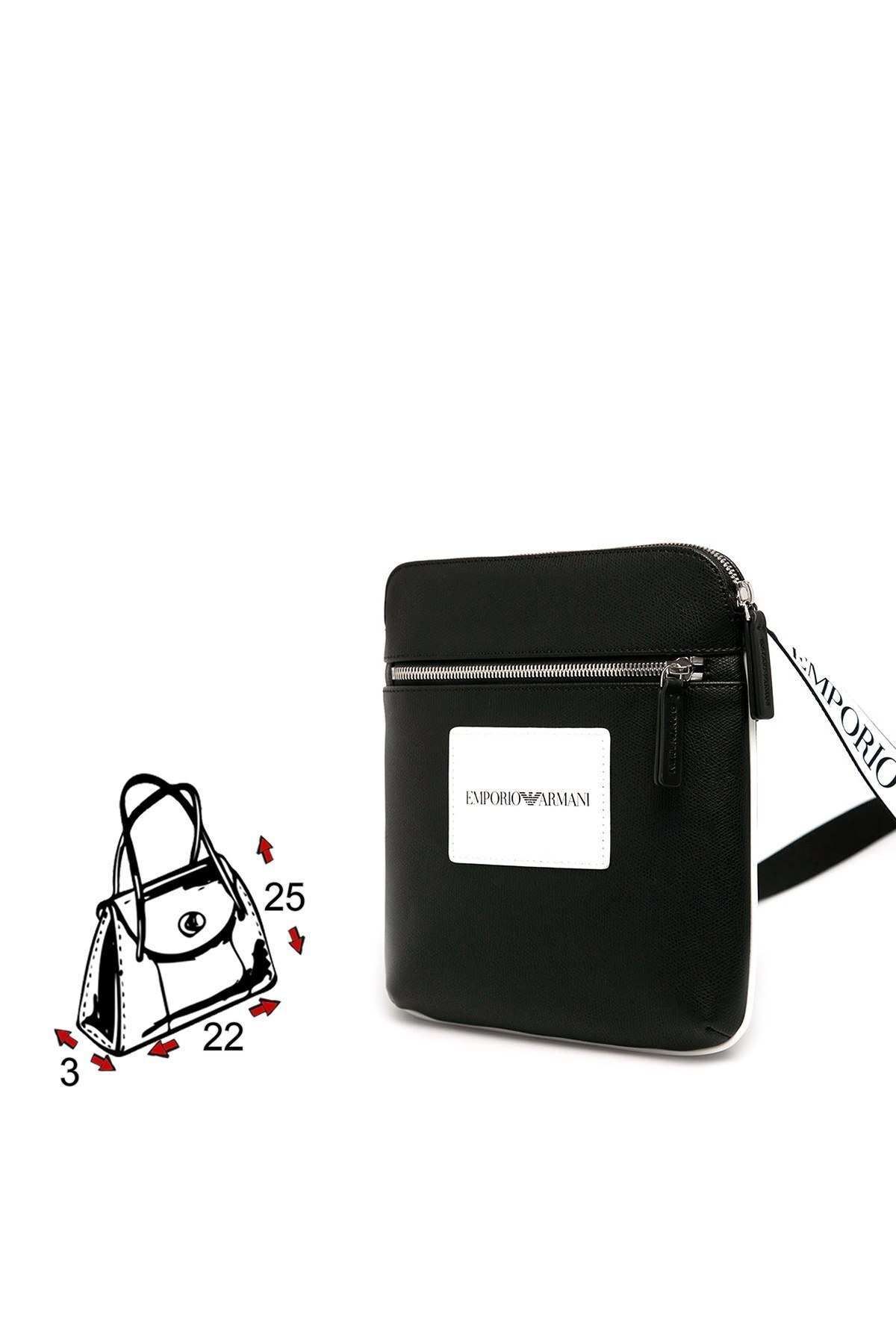 Emporio Armani Logo Baskılı Ayarlanabilir Askılı Erkek Çanta Y4M185 YFM4J 83896 SİYAH
