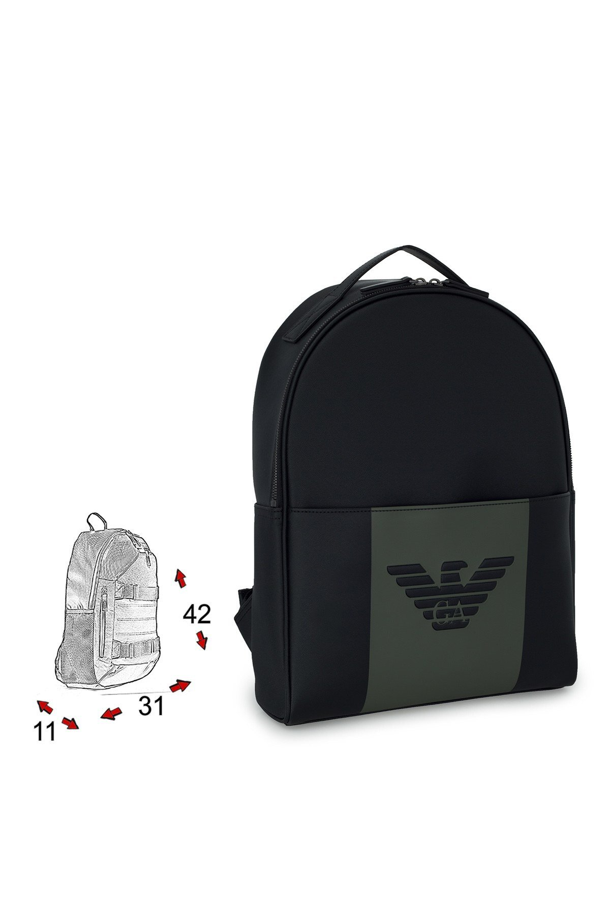 Emporio Armani Logo Baskılı Ayarlanabilir Askılı Sırt sı Erkek Çanta Y4O215 YFE6J 84273 SİYAH