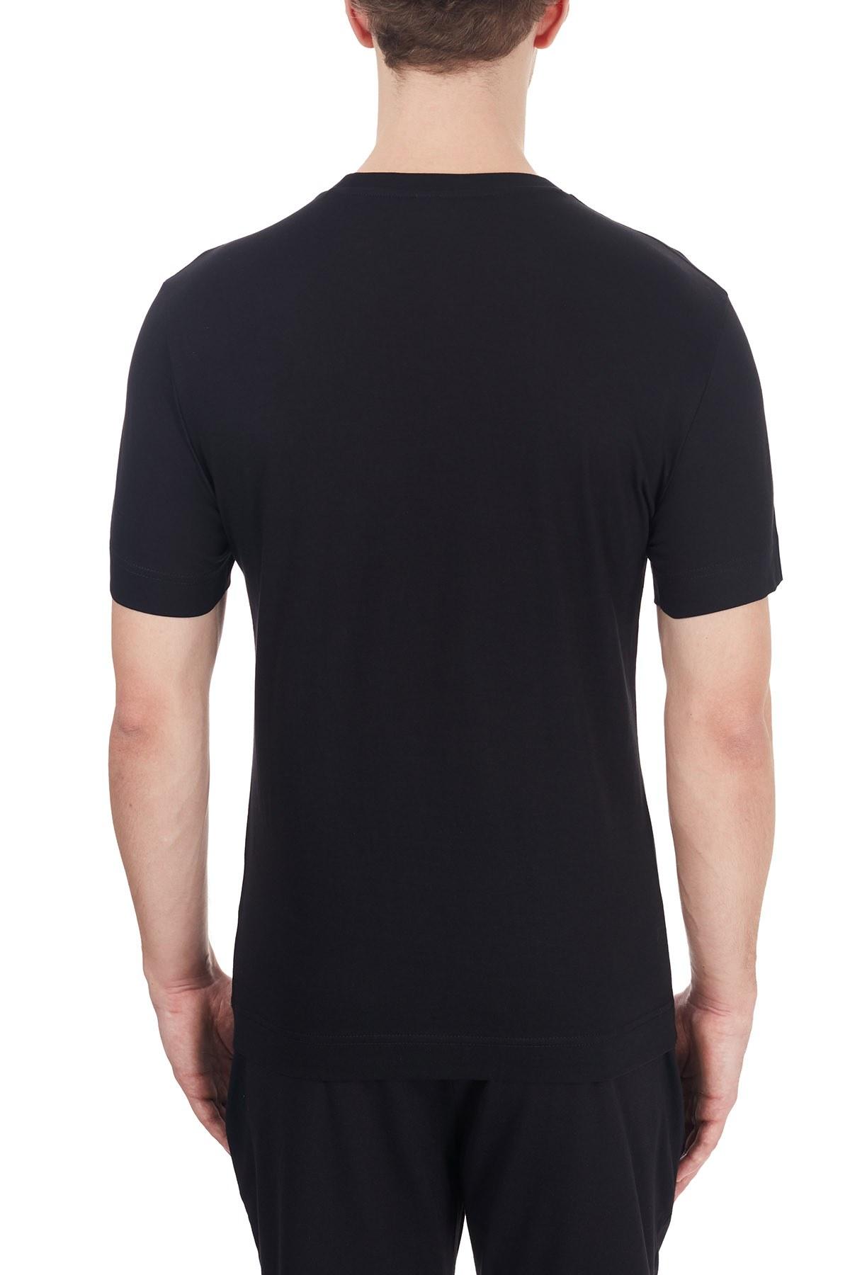 Emporio Armani Logo Baskılı Bisiklet Yaka % 100 Pamuk Erkek T Shirt 6H1T6G 1JSHZ 0002 SİYAH