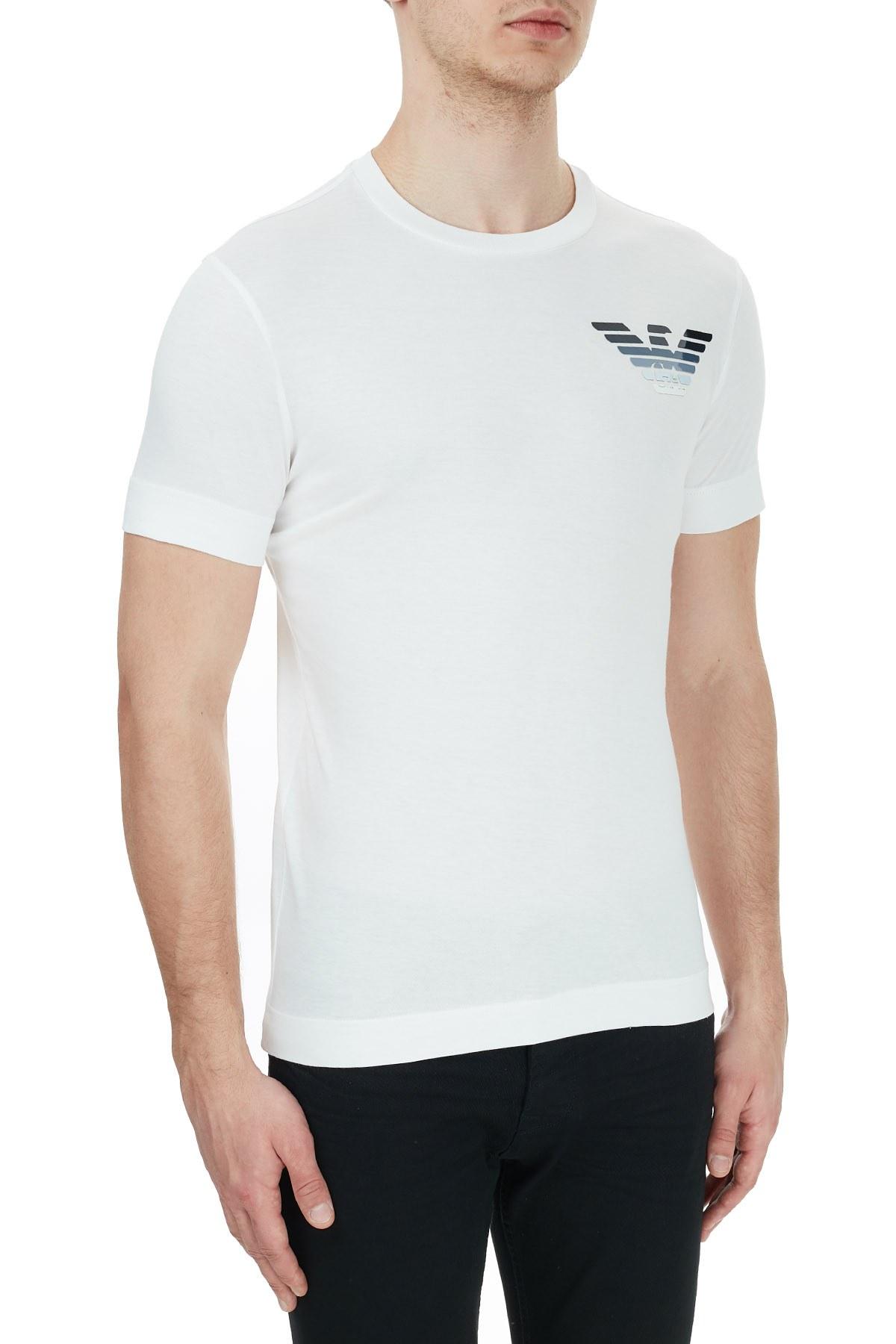 Emporio Armani Logo Baskılı Bisiklet Yaka % 100 Pamuk Erkek T Shirt 6H1T6G 1JSHZ 0101 BEYAZ