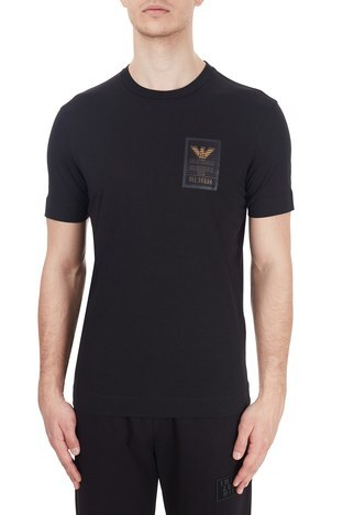 Emporio Armani - Emporio Armani Logo Baskılı Bisiklet Yaka % 100 Pamuk Erkek T Shirt 6H1TA3 1JDXZ 0999 SİYAH