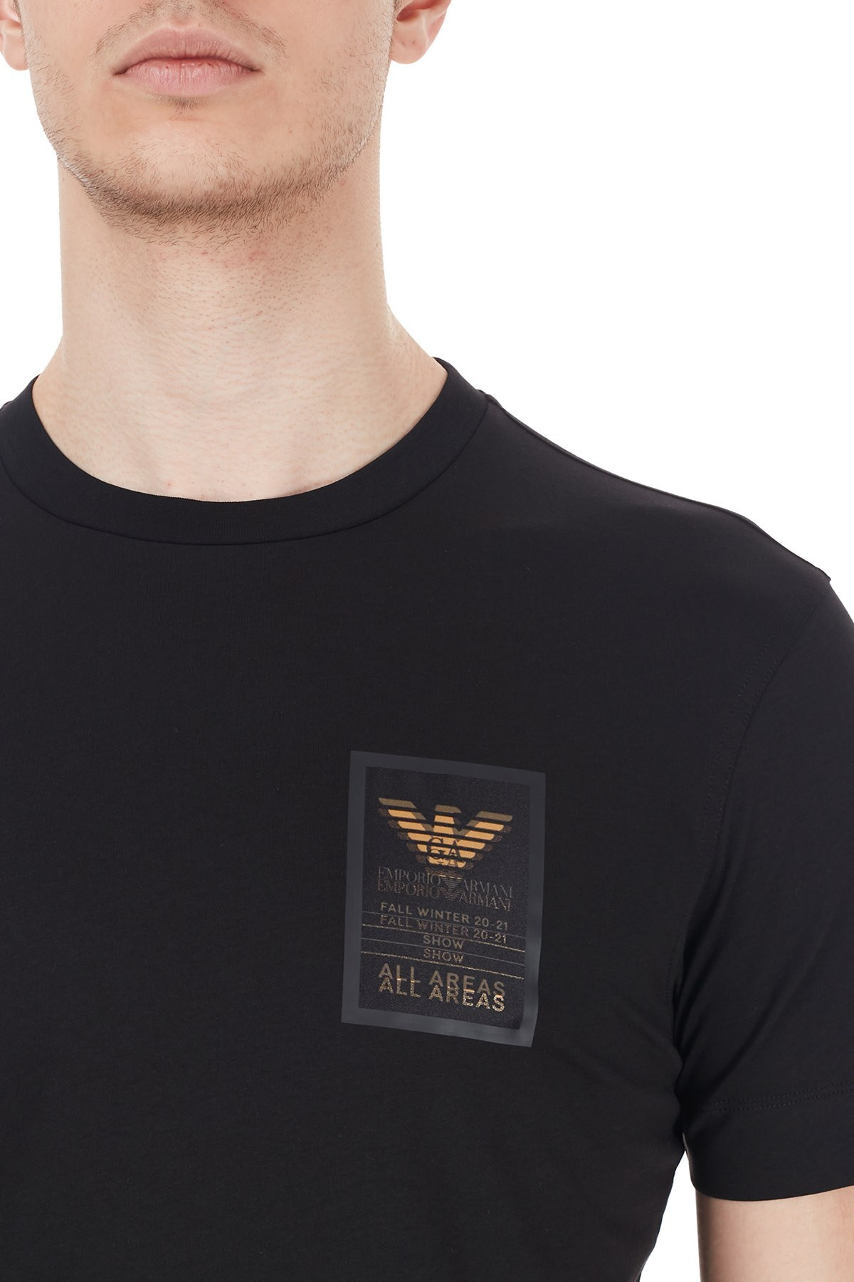 Emporio Armani Logo Baskılı Bisiklet Yaka % 100 Pamuk Erkek T Shirt 6H1TA3 1JDXZ 0999 SİYAH