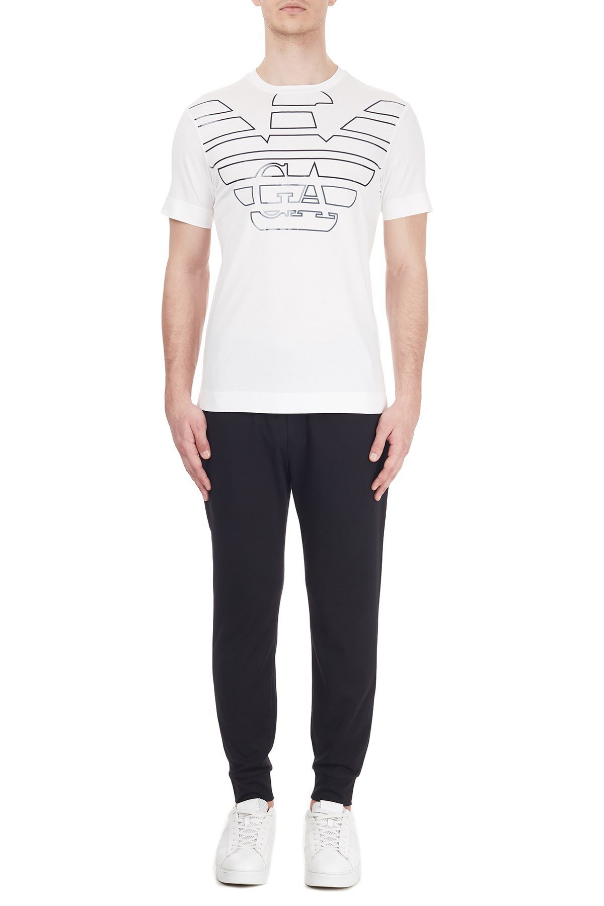 Emporio Armani Logo Baskılı Bisiklet Yaka % 100 Pamuk Erkek T Shirt 6H1TQ7 1J30Z 0101 BEYAZ