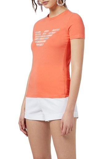 Emporio Armani Logo Baskılı Bisiklet Yaka Pamuklu Kadın T Shirt 3K2T7N 2J07Z 0248 ORANGE