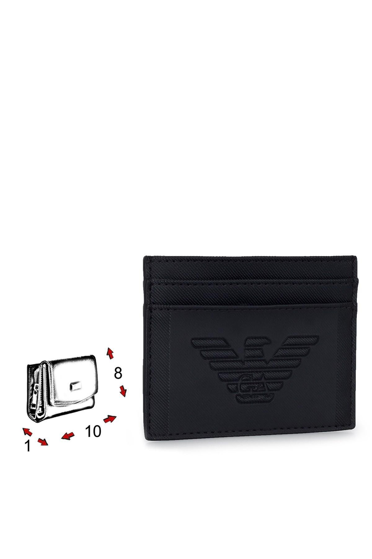 Emporio Armani Logo Baskılı Erkek Kartlık S Y4R125 YFE6J 81072 SİYAH