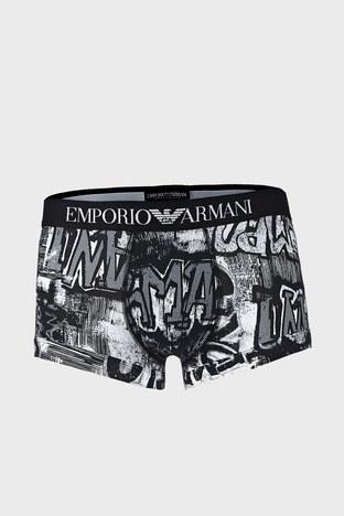 Emporio Armani - Emporio Armani Pamuklu Baskılı Esnek Erkek Boxer 111389 1P509 73010 SİYAH-BEYAZ