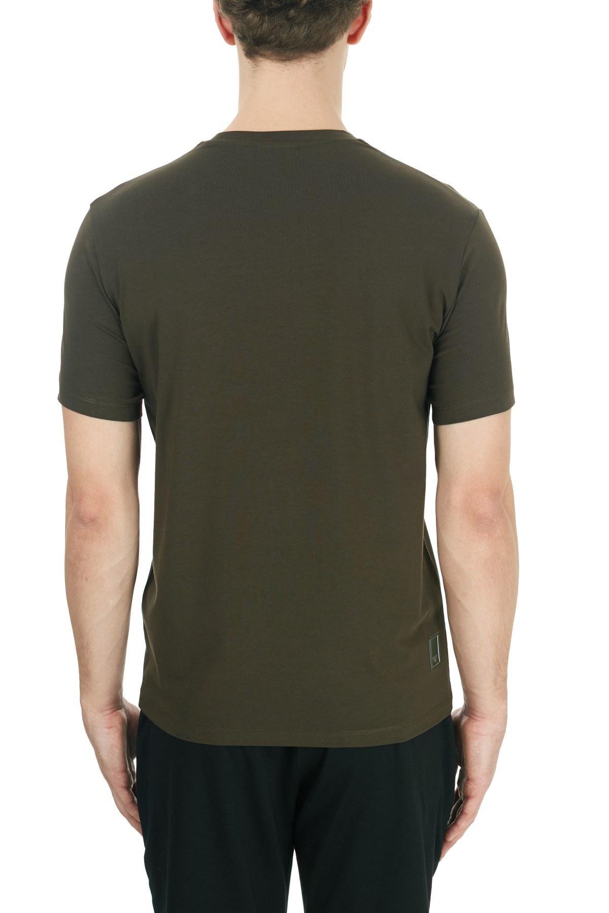 Emporio Armani Pamuklu Bisiklet Yaka Erkek T Shirt 6H1TS2 1JJRZ 0564 HAKİ