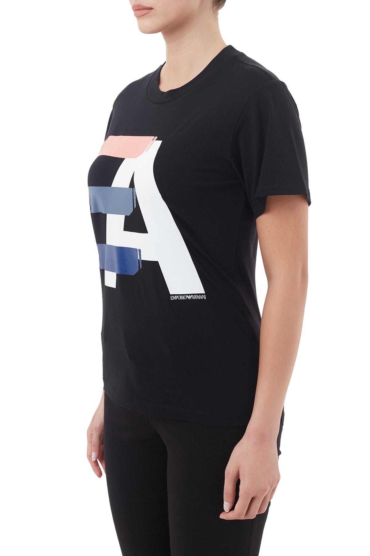 Emporio Armani Pamuklu Bisiklet Yaka Bayan T Shirt 6H2T7I 2J07Z 0999 SİYAH