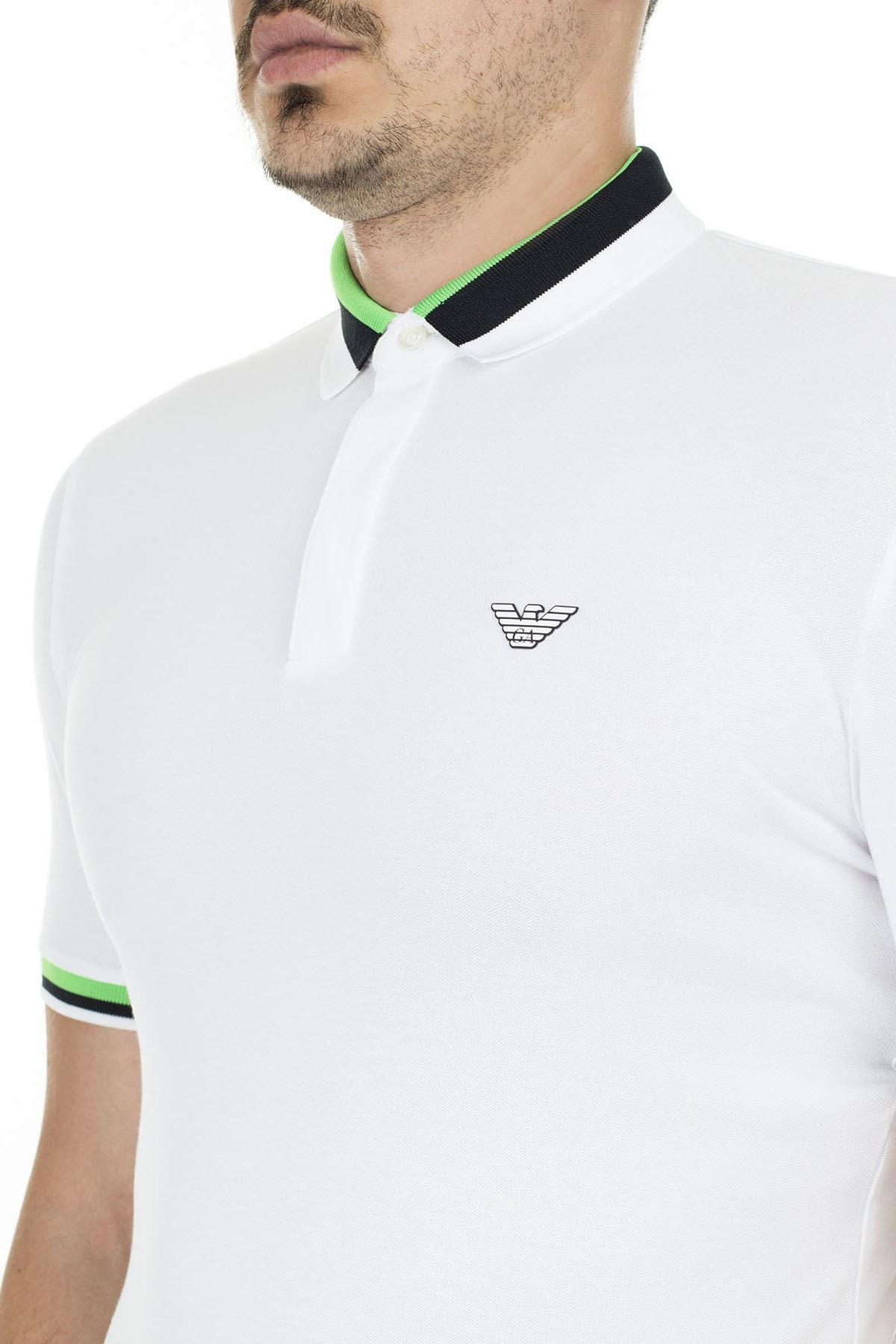 Emporio Armani Pamuklu Düğmeli T Shirt Erkek Polo 3H1F84 1J46Z 0102 BEYAZ