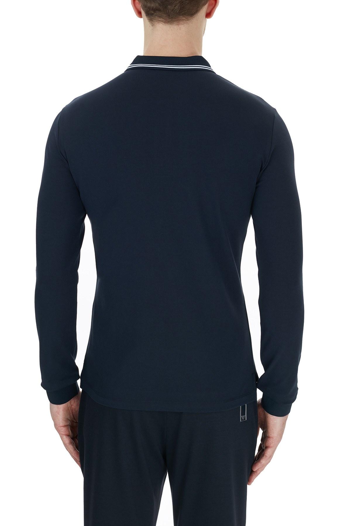Emporio Armani Pamuklu Düğmeli T Shirt Erkek Polo 8N1F36 1JPTZ 0939 LACİVERT